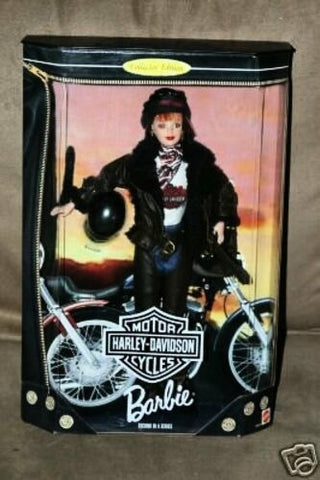 "New 1998 Barbie Harley-Davidson 12"" Doll with Jacket, Bag, Helmet and Doll Stand"