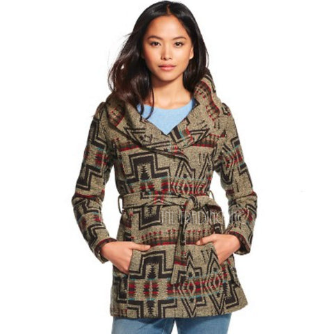NWT Mossimo Supply Co. Women's Faux Wool Blend Wrap Jacket Brown Jacquard Coat