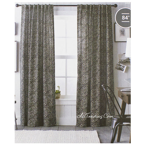 Threshold One Cotton Panel Window Treatment  Black Diamond Print Curtain 54x84""