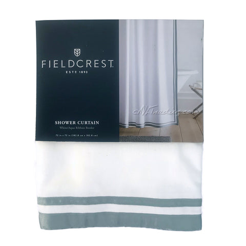 Fieldcrest Luxury Elegant White Aqua Ribbon Border Shower Curtain 72x72""