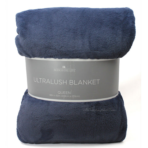 Berkshire Life Ultralush Velvety Soft Plush Warmest Blanket Blue (Queen/King)