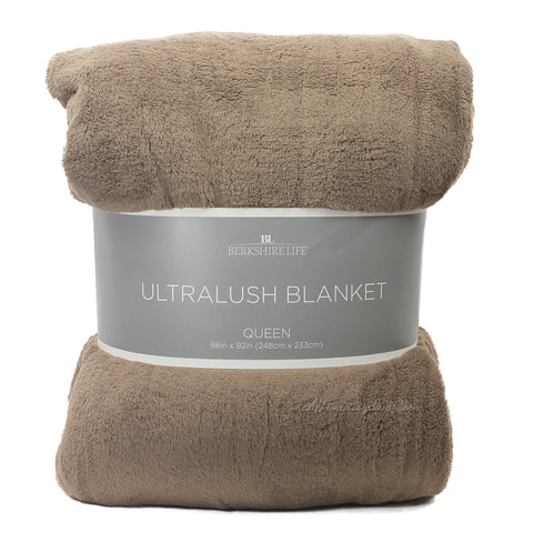 Berkshire Life Ultralush Velvety Soft Plush Warmest Blanket Brown (Queen/King)