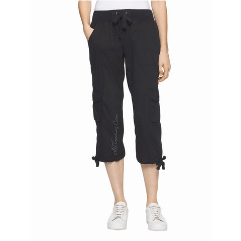 Calvin Klein CK White Label Performance 100% Cotton Drawstring Pull-on Cargo Capri Pants