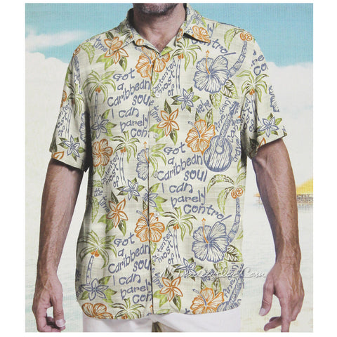 Margaritaville Men Rayon Short Sleeve BBQ Beach Button Front Tropical Shirt Caribbean Soul