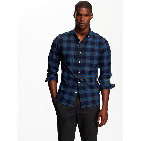 be3ac31d7856 Old Navy Men s Slim-Fit Long Sleeve 100% Cotton Dark Night Plaid Shirt – JNL  Trading
