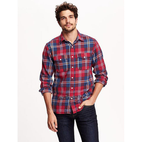 Old Navy Men Classic Regular-Fit Long Sleeve Plaid Flannel Shirt 100% cotton