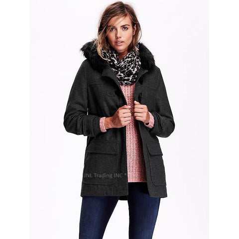 434e84b7bcbe Old Navy Women s Wool-Blend Toggle Coat Warm Winter Jacket faux-fur-tr – JNL  Trading