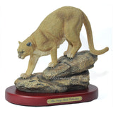 Amy and Addy The Gray Rock Collection Series Wildlife Animal Resin Decorative Statue - MOUNTAIN LION COUGAR CLIMBING DOWN THE ROCK Sculpture with Base