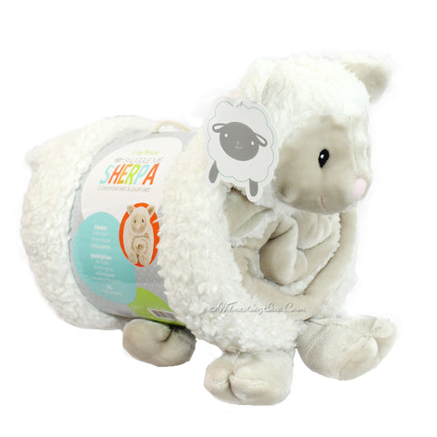 Little Miracles Snuggle Me Soft Cozy Cuddly Sherpa Blanket Plush Set LAMB