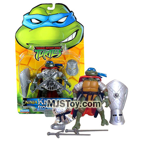 Year 2004 Teenage Mutant Ninja Turtles TMNT 5 Inch Tall Figure - Ninja Knights LEONARDO with Breastplate, Swords, Helmet, Sheath and Shield