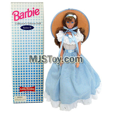 Year 1995 Barbie Collector Edition Series 12 Inch Doll - LITTLE DEBBIE in Blue White Checker Dress with Straw Hat, Hairbrush and Doll Stand