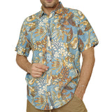 Margaritaville Men Rayon Short Sleeve BBQ Beach Button Front Tropical Shirt Tropical Guitar (Blue)