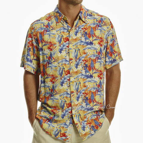 Margaritaville Men Rayon Short Sleeve BBQ Beach Button Front Tropical Shirt Parrotdise (Blue Yellow)