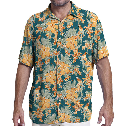 Margaritaville Men Rayon Short Sleeve BBQ Beach Button Front Tropical Shirt Tropical Parrot