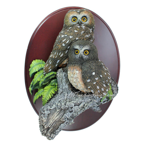 Amy and Addy The Gray Rock Collection Series Wildlife Animal Resin Decorative Statue - NORTHERN SAW WHET OWLS Sculpture with Wall Plaque Base