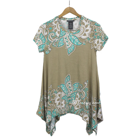 Chelsea & Theodore short sleeve Sharkbite Style Top Stretchy Tunic Shirt