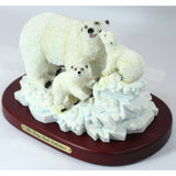 Amy and Addy The Gray Rock Collection Series Wildlife Animal Resin Sculpture - POLAR BEAR PLAYING with 2 CUBS with Display Base