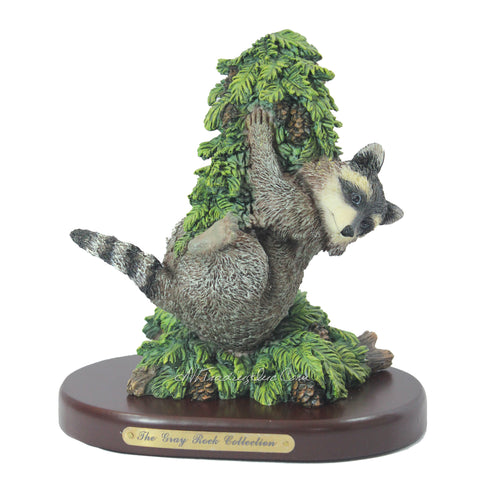 Amy and Addy The Gray Rock Collection Series Wildlife Animal Resin Decorative Sculpture - RACCOON HANGING ON PINE TREE with Base