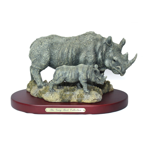 Amy and Addy The Gray Rock Collection Series Wildlife Animal Resin Decorative Statue - AFRICAN WHITE RHINOCEROS with BABY RHINO Sculpture with Base