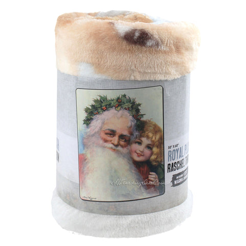 "Copy of American Heritage Royal Plush Raschel Throw Super Soft Warm Durable Blanket ""Santas Greetings"""