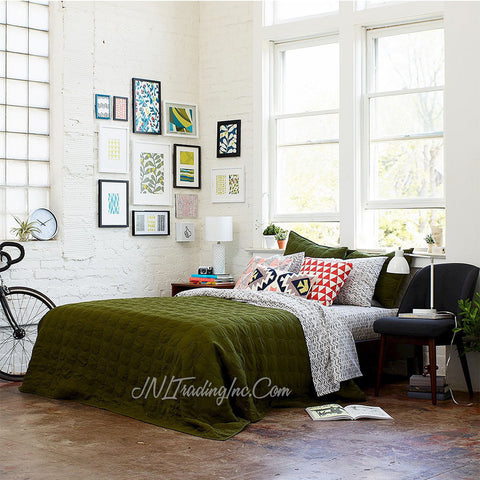 Room Essentials TWIN Olive Green Dot Stitch Quilt Cover/Blanket/Coverlet