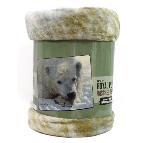 American Heritage Royal Plush Raschel Throw Super Soft Warm Durable Blanket POLAR BEAR