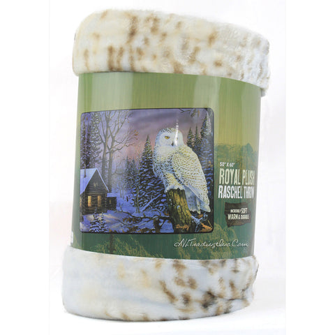 Copy of American Heritage Royal Plush Raschel Throw Super Soft Warm Durable Blanket Nightwatch Owl