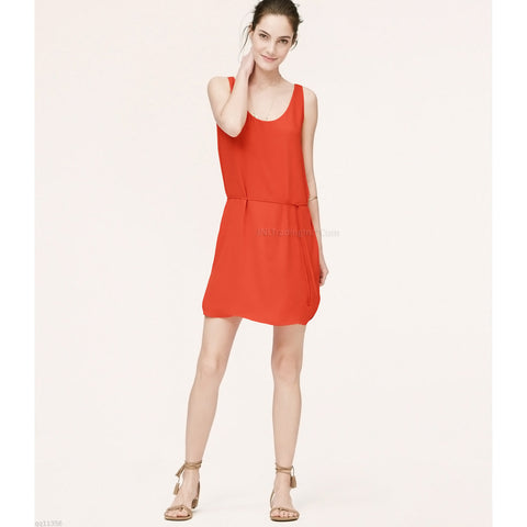 Ann Taylor LOFT Flattering Shirttail Tank Summer Dress Lovely Burning Red