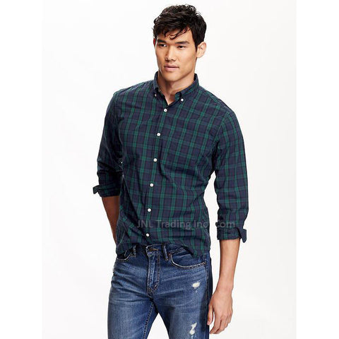 Old Navy Men's Slim-Fit Long Sleeve 100% Cotton Poplin Tartan Plaid Shirt