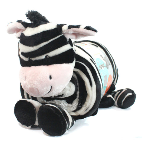 Little Miracles Snuggle Me Soft Cozy Cuddly Sherpa Blanket Plush Set ZEBRA