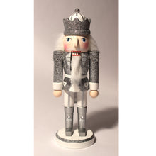 "Load image into Gallery viewer, 10"" Glittery Silver King Nutcrackers"