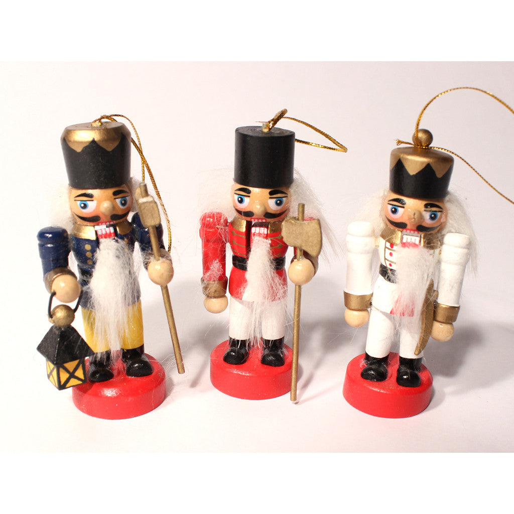 "Set of Three 3"" Mini Nutcracker Ornaments"