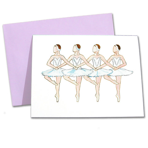 Four Little Swans Note Cards