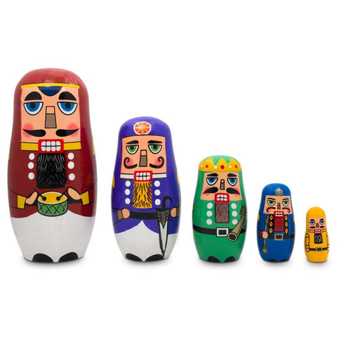 "5-1/2"" Hand-painted Set of 5 Wooden Nutcracker Nesting Dolls"