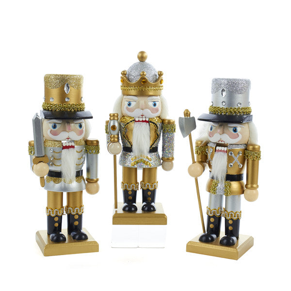 "9"" Gold & Silver Chubby Nutcrackers"