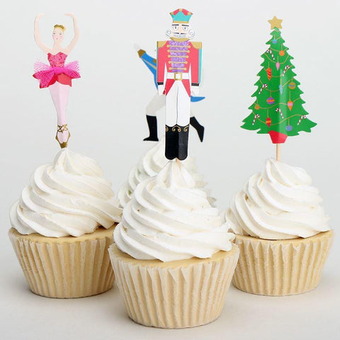 Set of 4 Nutcracker Ballet Cupcake Toppers - Ballet Gift Shop