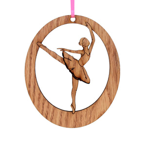 Arabesque Laser-Etched Ornament - Ballet Gift Shop