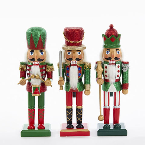"10"" Red & Green Glittery Nutcrackers"