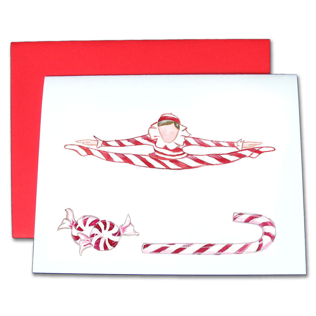 Peppermint Candy Cane Note Cards - Ballet Gift Shop