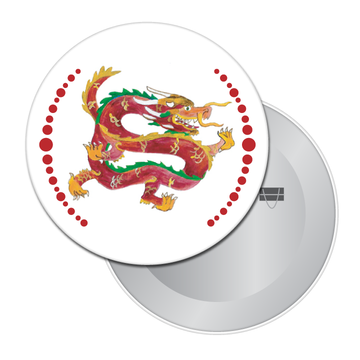 Chinese Dragon Button / Magnet