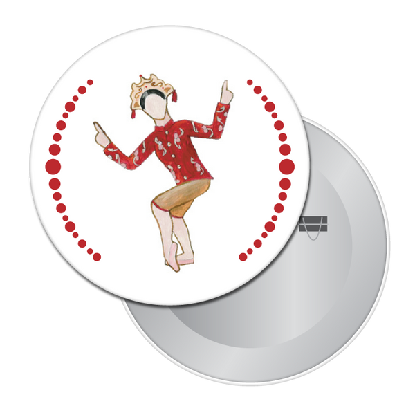 Chinese Tea Lady Button / Magnet