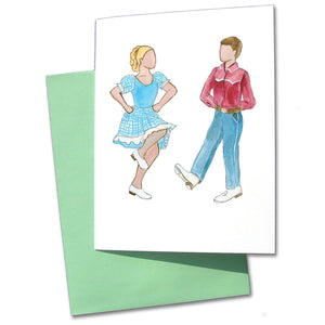 Clogging Dancers Note Cards - Ballet Gift Shop