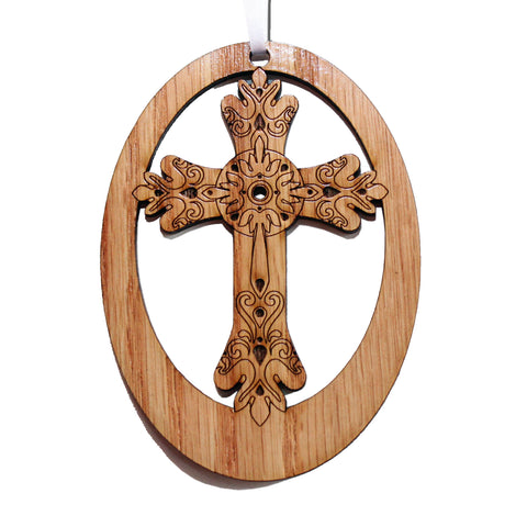 Ornate Cross Laser-Etched Ornament