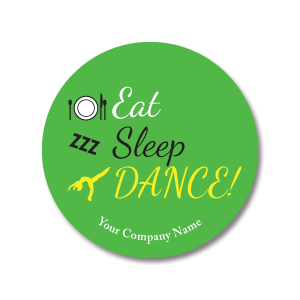 "Eat, Sleep, Dance 3""x3"" Circle Full-Color Magnets (Choose from 6 colors) - Ballet Gift Shop"