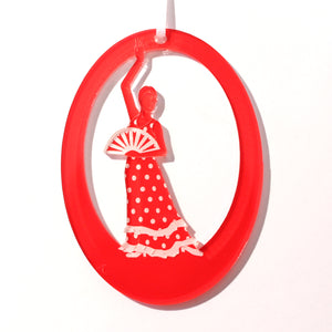 Flamenco Fan Dancer Laser-Etched Ornament