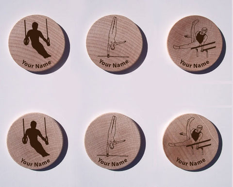 Men's Gymnastics Maple Magnet Set of 6