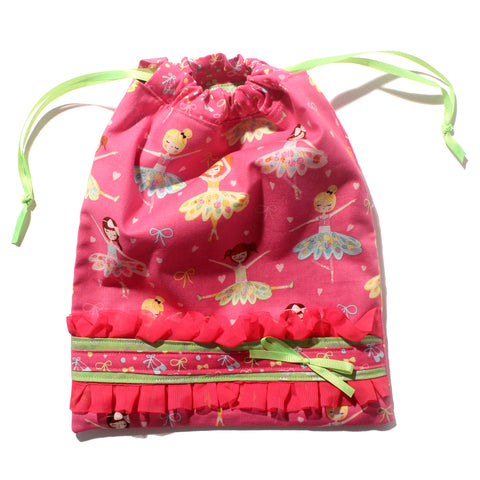 Hot Pink Ballerinas Drawstring Tote