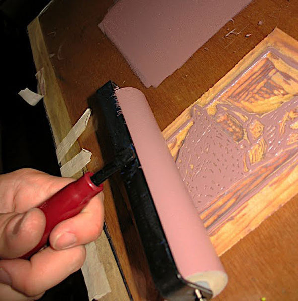 Inking the wood block