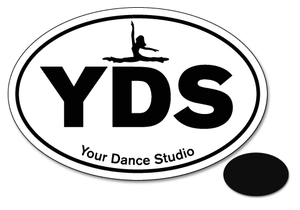 "Jazz/Dance Team Initials 3-3/8"" x 5-3/4"" Oval Car Magnets - Ballet Gift Shop"