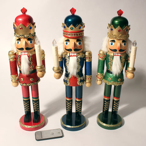 "15"" Glittery King Nutcrackers with Light-up LED candles"